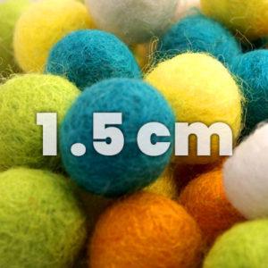 Felt balls, single 1.5 cm