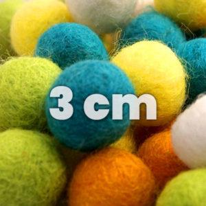 Felt balls, single 3 cm